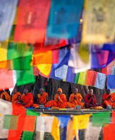 Buddhist monks in Lumbini, Nepal. Lumbini is believed to be the birthplace of Siddhartha Gautama (the Buddha)