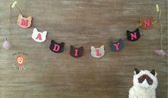 Personalized Cat Name Banner Kitty Cat by LittleLionLoveliesCo