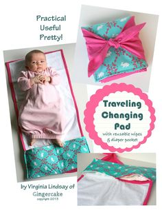 There are tons of baby accessories out there but this one is not only adorable but is sure to be used by a new mom again and again!  Combining the changing pad with pockets to hold both a diaper and your wipes makes this pattern really nice for staying organized.  The traveling changing pad features a 24