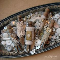 vintage clothes pins tied with vintage laces  great by artjoystuff, $14.00