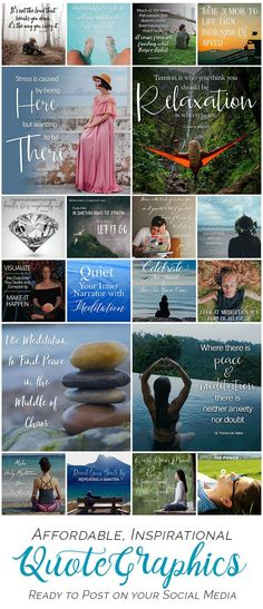Social media quotes for marketing your small business: Connect with your prospects daily using shareable graphics that save you time! 20 gorgeous images in choice of themes. Watermark them or use as-is. Shown: PEACE theme. Click to website to see them all!