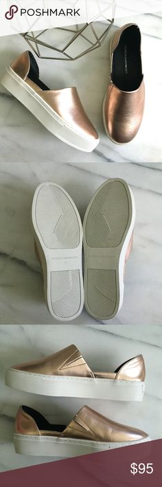 REBECCA MINKOFF Rose Gold Slip On Nana Sneakers A classic slip-on is updated with a chic, d'Orsay-inspired silhouette crafted from soft, supple leather. Lightly padded insole. Platform is approximately 1.5 inches. Excellent condition. Runs a half size large. Rebecca Minkoff Shoes Sneakers