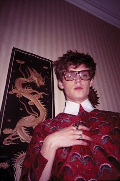 For Wonderland's March issue, a sea dragon patterned shirt from Gucci Spring Summer 2017 and a pair of men's frames. Photographer: Luke Farley Styling: Nicco Torelli