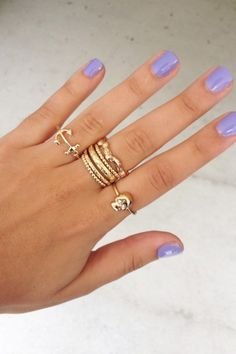 Gold Ring Stack and I love the nail color for spring
