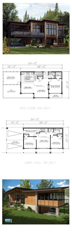 Need this to be under 1000 sq ft. Lakefront Style COOL House Plan ID: chp-53085   Total Living Area: 1576 sq. ft., 3 bedrooms & 2 bathrooms. #houseplan #lakehouse