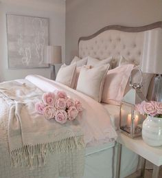 30 Cozy Romantic Bedroom Design Ideas For Comfortable Bedding bedroomdecor bedroomideas bedroomdesign Cozy Bedroom, Trendy Bedroom, Home Decor Bedroom, Girls Bedroom, Bedroom Ideas, Shabby Bedroom, White Bedroom, Bedroom Designs, Modern Bedroom