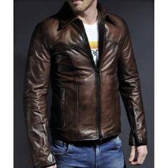 Brown Cafe Racer Vintage Leather Jacket