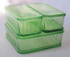 6 pc Green depression glass refrigerator dishes with lids - Vintage - $95.00.