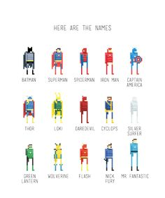 Super Cool Pixel Art Super Heroes