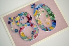 Quilled 80th birthday card | Quilled number 80