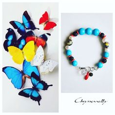 JEWELRY | Chryssomally || Art & Fashion Designer - Unique inspiration boho luxe bracelet with turquoise, red, yellow, black and white gemstones and crystals
