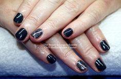 CND Shellac nails in Indigo Frock with Steel Glitter.  A beautiful dark smokey blue.  #cndshellac #nails #salcombe