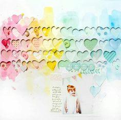 Corações aquarelados