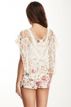 Lace Poncho.. and I love those shorts!