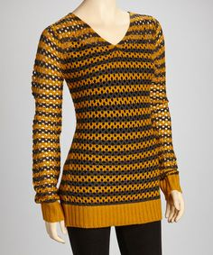 Take a look at this Mustard & Charcoal Stripe V-Neck Sweater by Yoki on #zulily today!