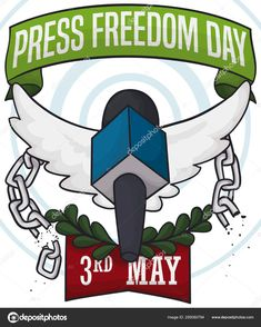 Winged Microphone Breaking Chains to Celebrate Press Freedom Day, Vector Illustration Freedom Day, World Press, Broken Chain, Birds In Flight, Wings, Typography, Stock Photos, Illustration, Poster