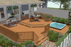 hot tub deck Above+Ground+Pool+Deck+Plans Above Ground Pool Decks, In Ground Pools, Whirlpool Deck, Hot Tub Privacy, Sunken Hot Tub, Pool Deck Plans, Hot Tub Backyard, Backyard Patio Designs, Diy Garden