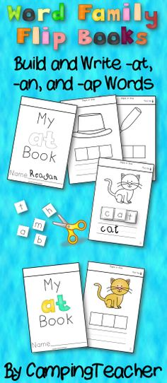 Word Family Flip Books- Build and Write words with -at, -an, and -ap