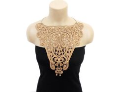 Your place to buy and sell all things handmade Crochet Collar, Lace Collar, Irish Lace, Classic Outfits, Beautiful Crochet, Cotton Lace, Crochet Necklace, Brown, Womens Fashion