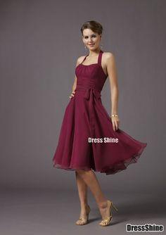 Beautiful A-line Halter Knee-length Chiffon Evening Bridesmaids Dress