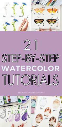 Watercolor Pencil Art, Watercolor Flowers Tutorial, Watercolor Art Lessons, Watercolor Paintings For Beginners, Watercolor Projects, Watercolor Tutorials, Painting Lessons, Watercolor Cards, Abstract Watercolor