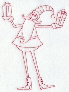 Skinny Santa with Gifts (Redwork) on Embroidery Library