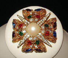 Vintage Hattie Carnegie Multi-Color Rhinestone Faux Pearl Maltese Cross Pin