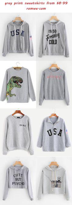 grey print sweatshirts 2017 - romwe.com