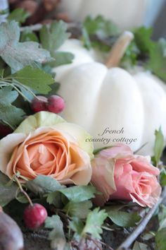 ❥ french country cottage lovely for fall events, white pumpkins and roses.