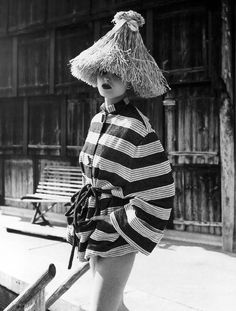 Summer, 1949 - Actress Ursula Thiess models a striped terry jacket by Bessie Becke