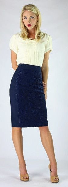 Navy Lace Skirt | ModestPop.com