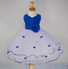 White Royal Blue Flower Girl butterflies tulle dress tie sash pageant wedding bridal recital children toddler size 12-18m 2 4 6 8 10  #801s by ekidsbridalusa on Etsy https://www.etsy.com/listing/227216096/white-royal-blue-flower-girl-butterflies
