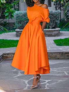 aa8c1ca6c Mid-Calf Half Sleeve Expansion Plain Dress