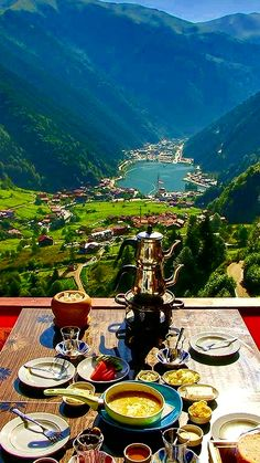 breakfast with view (Place: Uzungöl -Trabzon-Turkey) // Photography by( Breakfast Around The World, Turkey Places, Turkey Travel, Turkey Vacation, Destination Voyage, Photos Voyages, Beautiful Places To Travel, Travel Goals, Luxury Travel