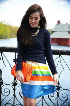 I'd probably do a neutral purse with such a bold skirt, but I'm loving the pearls.