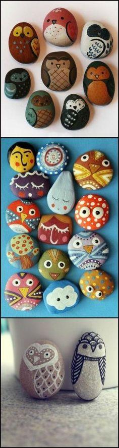 Cute Owl Painted Rocks <3 by La Vie En Rose