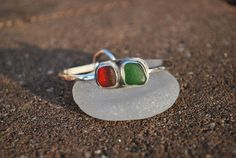 Red and Green Sea Glass Sterling Silver Bangle by kathyarterburn, $58.00