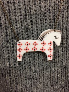 White horse porcelain pendant porcelain jewelry by ciutecreations