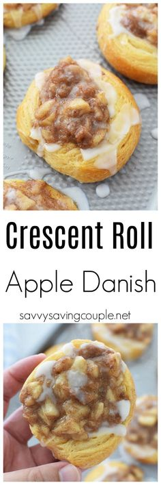 Iced Apple Crescent Roll Danish- A delicious dessert pastry that can be easily made at home with crescent roll dough and fresh pan-fried apple filling. via - Cooking Styles Apple Dessert Recipes, Apple Recipes, Brunch Recipes, Delicious Desserts, Breakfast Recipes, Trifle Desserts, Chef Recipes, Kitchen Recipes, Apple Crescent Rolls