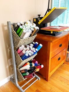 Vinyl Storage Solution for Small Spaces (And First Look at My New Craft Room) is part of Vinyl crafts Room - Small space vinyl storage organization ideas! Can you believe 65 rolls of vinyl fit in such a small space!