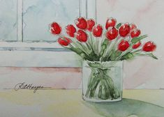 Red Tulips Original Watercolor Painting by RoseAnnHayes on Etsy, $23.00