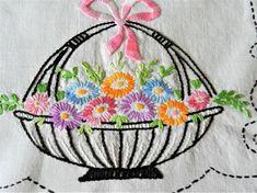 Vintage hand embroidered basket of flowers dresser scarf or runner