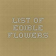 List of Edible Flowers
