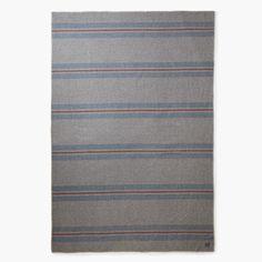 Cabin Wool Blanket - Gray/Blue/Red