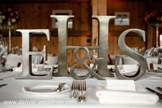 monogram wedding centerpiece@Lisa Hastert   This would be easy to do for a King's table.
