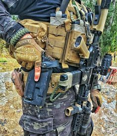 It almost looks impossible that any of this firepower could be retrieved at the Instant was needed, though I'm sure these experts are very skilled at it. Battle Belt, Tactical Vest, Tactical Clothing, Military Guns, Military Vest, Airsoft Gear, Combat Gear, Tactical Equipment, Tac Gear