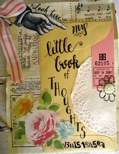 """""""My Little Book of Thoughts"""" Vintage Ephemera Journal"""