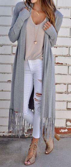 long fringe cardigan + strappy heels