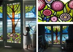 Stained glass 'Swallow' door and side panels by Stephen Weir Stained Glass, Glasgow, Scotland