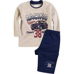 Conjunto Bebê Menino Moleton Racing Bege - Brandili :: 764 Kids | Roupa bebê e infantil